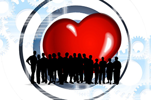 heart and group of people