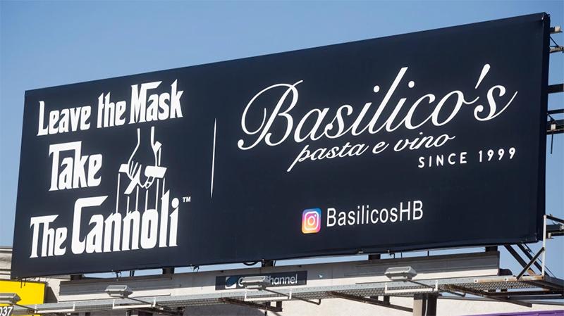 Tony Roman's Basilico's Restaurant billboard